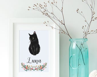 Cat Portrait - Personalised A4 Cat Art Print - pet portrait - black cat - cat - kitten - cat art print - ideal gift for cat lovers