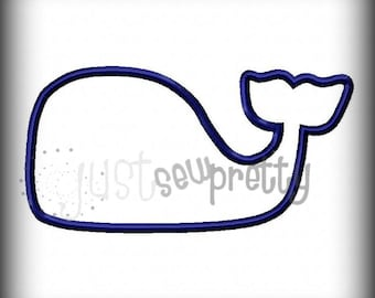 simple whale outline embroidery applique design - Whale Outline