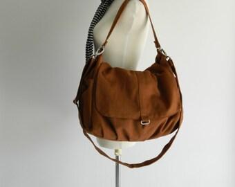 Mothers day Sale 25% - Canvas Messenger zipper bag,Cognac brown diaper bag ,Canvas Shoulder bag,cross body bag,gift for her / no.18 -DANIEL