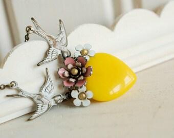 heart tattoo necklace, yellow glass heart pendant, pink flower necklace, vintage enamel flower, floral heart jewelry