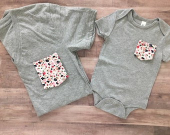 Mommy & Me Tshirt set, Navy and Pink Floral