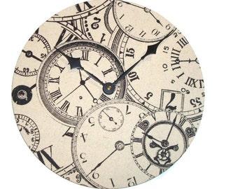 Large Wall Clock, Ecru and Black Wall Clock, 12 Inch Wall Clock, Time Piece Wall Clock, Record Clock, Home Decor, Wall Decor No. 1207