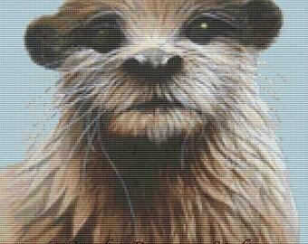 Contemporary cross stitch kit 'Otter' by David Finney - Otter cross stitch art, Needlework, counted cross stitch
