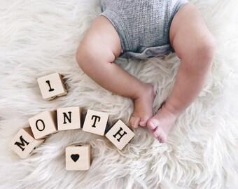 Baby Age Blocks - Baby Month Blocks - Milestone Blocks - Baby Gift - Baby Shower Gift - Wood Baby Blocks - Baby Photo Prop - Pregnancy Gift