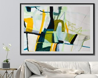 Wall art Large Print of Geometric Abstract Painting, Giclee Print colorful modern painting blue yellow green by Duealberi