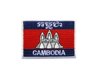 Cambodia Flag Embroidered Applique Iron on Patch