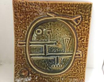 Hoganas/Höganäs/yngve/Blixt/rare/wall/tile/abstract/scandinavian modern/plaque