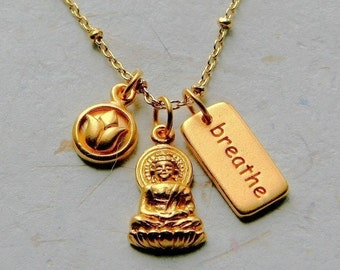 Gold Chain Necklace with Lotus Flower, Buddha and Breathe Charms