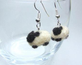 Needle felt sheep earrings