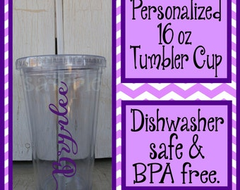 Personalized 16 oz tumbler cup, Customized tumbler cup, Monogram tumbler cups, personalized cup with straw, BPA free, Dishwasher Safe