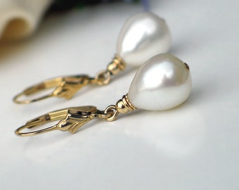 Teardrop Pearl Earrings | White Freshwater Drop Pearl | 14k Gold Filled Fleur De Lis Leverback Dangles | Birthday | Everyday | Ready to Ship