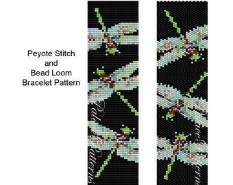 Bracelet Pattern for Bead Loom Weaving or Peyote Stitch - Dragonfly on Black Peyote Stitch or Bead Loom Bracelet Pattern