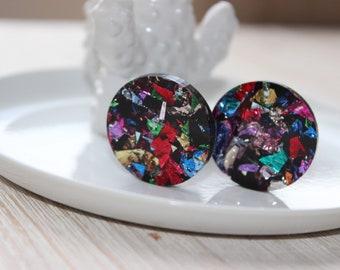 Colourful 3cm circle earrings - hypoallergenic backs for sensitive ears!