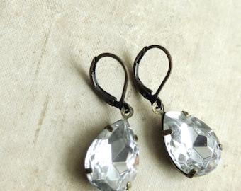 Clear Rhinestone Drop Earrings