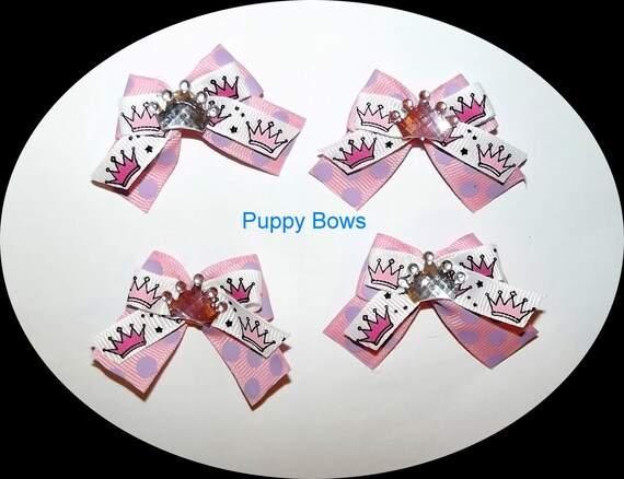 Puppy Bows ~Girls set of 4 PRINCESS CROWN bow pink purple ~USA seller