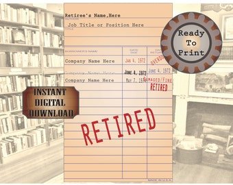 Personalized Retirement Library Check Card Printable 3 Cards Stamped Announcements with Retiree Name Company Start End Date Party Favor Gift
