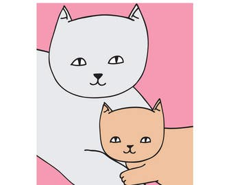 Mothers Day Card - Mum and Baby Kitten