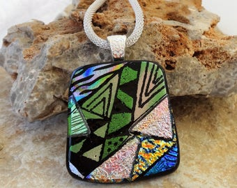 Dichroic Fused Glass Pendant, Square Fused Glass Pendant, Dichroic Fused Glass Zentangle Pendant, Pink and Green Glass Pendant, Hand Etched
