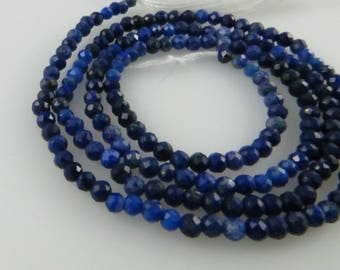 1.5mm Faceted, Lapis Lazuli Gemstone Beads - Full Strand, Approx 180 Beads