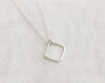 Hammered rhombus (necklace) - Small sterling silver open square