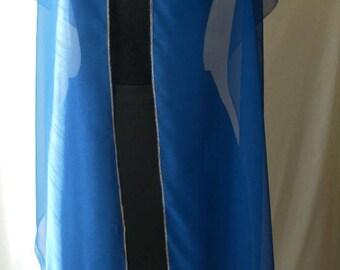 Blue chiffon sari hand beaded shawl