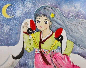 Korean Hanbok Girl Bird Art Print 8x10, Nursery Crane decor, Gift for her, Baby shower present, Asian mythology painting, Traditional Dress