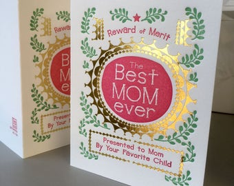 A2-154  Reward of Merit for mom letterpress card