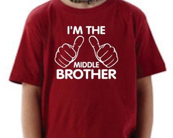 Children kids t-shirt. Middle Brother t-shirt. I'm the middle brother. Toddler t-shirt. T-shirt for boys.