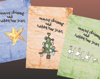 18 Christmas cards ' Merry Christmas and Happy New Year ', cute, cheerful children's drawings, colorful (set of 18 cards)