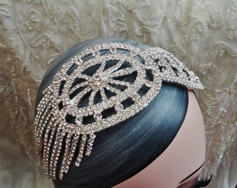 Vintage flapper inspired 1920's 1930's Gatsby style rhinestone headband tassels luxury sparkling wedding party