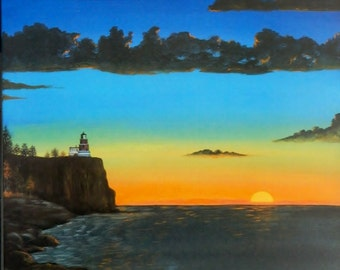 """Lighthouse on a cliff, 11 x 14"""" print of acrylic painting"""