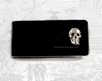 Skull Money Clip Inlaid in Hand Painted Enamel Gothic Victorian Inspired Custom Colors and Personalized Options Available