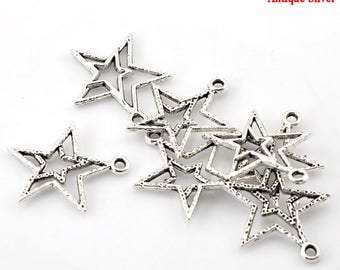 set of 5 double star silver 21 * 23 mm