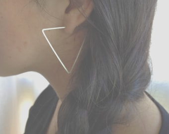 LARGE TRIANGLE HOOPS - Hammered Triangle Hoop Earrings Sterling Silver, Gold, or Rose Gold
