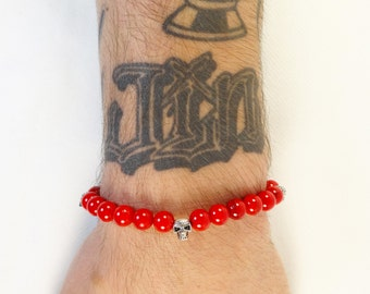 Bracelet skull 925 sterling silver Red coral beads handmade