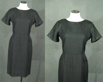 vintage 50s  Wiggle Dress - Black Linen Wiggle Dress 1950s LDB Little Black Dress Sz M