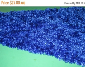 ON SALE Fun Fur Scarf Hand Knitted in shades of Blue