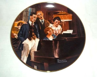 Knowles Norman Rockwell Collectors' Plate Close Harmony / Fifth in Light Campaign Series / Limited and Numbered