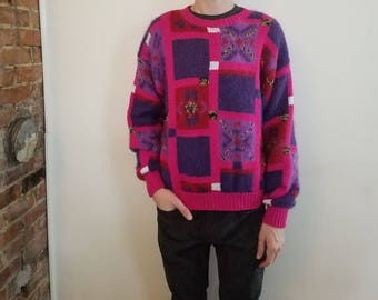 80's vintage hot pink purple squares ugly sweater game is lit!!
