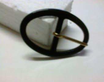 Black oval buckle plastic passage 2.8 cm * BO101 *.