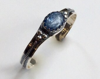 Silver cuff, kynite cuff, statement bracelet, unique bracelet, statement cuff, gemstone bracelet, casual simple cuff - Deep blue B3006S