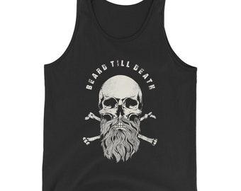 Beard Till Death Bearded Skull And Crossbone  Tank Top