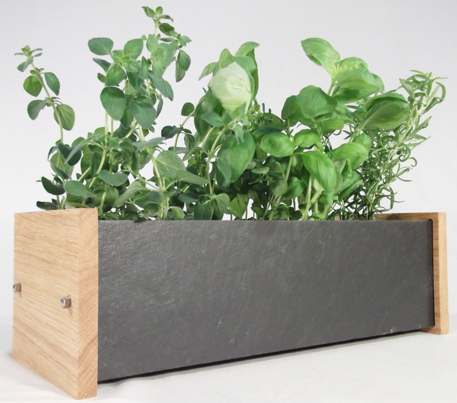 Windowsill Planter.. OAK and SLATE.. Window Box for Herb and Flower Pots