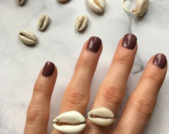 Silver ring 925 cowrie shell
