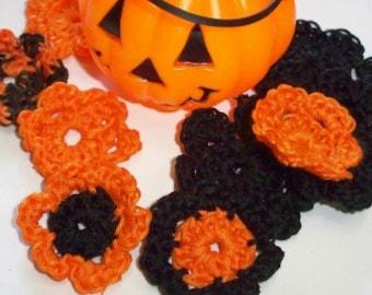 Crochet Halloween Appliqué set ~ Black & Orange ~ Crochet Flowers ~ Halloween Flowers ~ Hair Appliqués  ~ Scrapbook