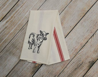 Cow gift, farmhouse decor, flour sack tea towel, custom tea towel, farm animnal decor