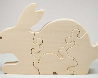 Wooden Animal Puzzle, Bunny Puzzle, Personalized Puzzle, Wooden Animal, Wooden Bunny Puzzle, Children Puzzle, Nursery Decor Baby Shower Gift