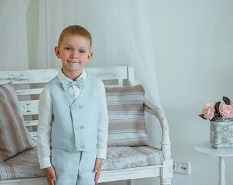 4pcs Baby boy linen pants, vest, white shirt and bow tie set Toddler boys linen suit  Ring bearer suit Wedding party outfit Baptism outfit