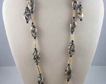Puffed Oval Lamp Worked Glass with Gold Vermeil Tubes Necklace & Earring Set