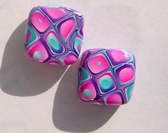 Rocky Road Square Handmade Artisan Polymer Clay Bead Pair